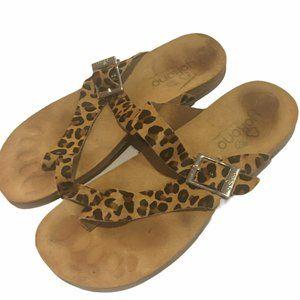 YOKONO Ibiza Leopard Calf Hair Leather Sandals